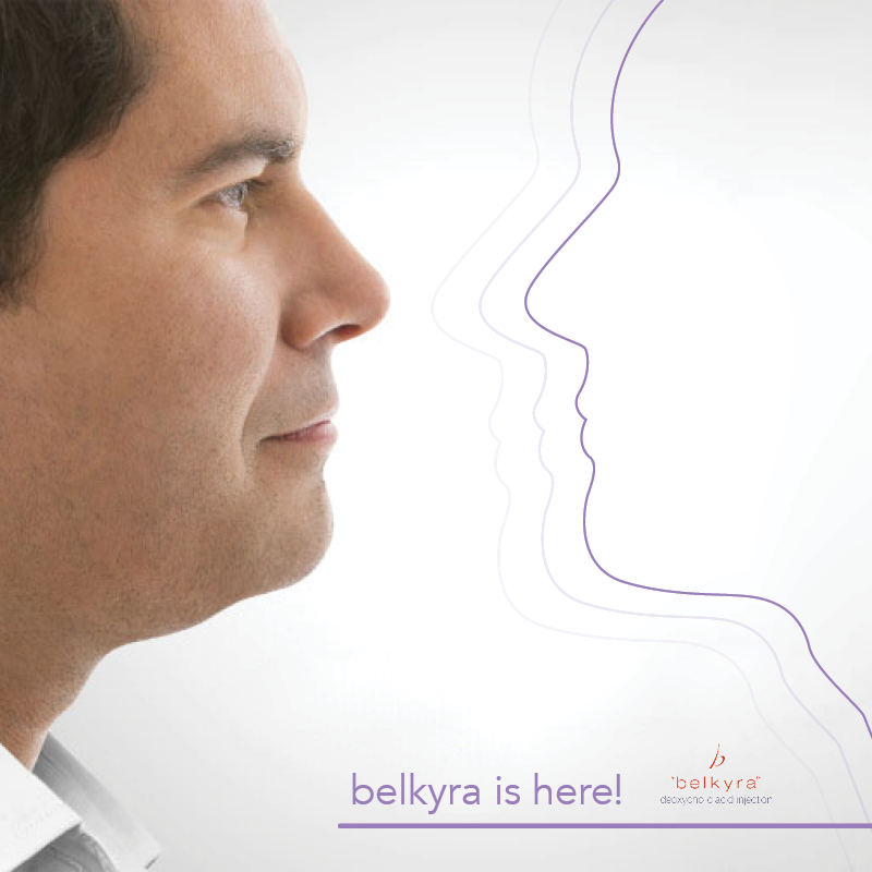 Man looking at a line drawing of his face, as it looks like it is shrinking. Ad For Belkyra product at Lazer Advantage.