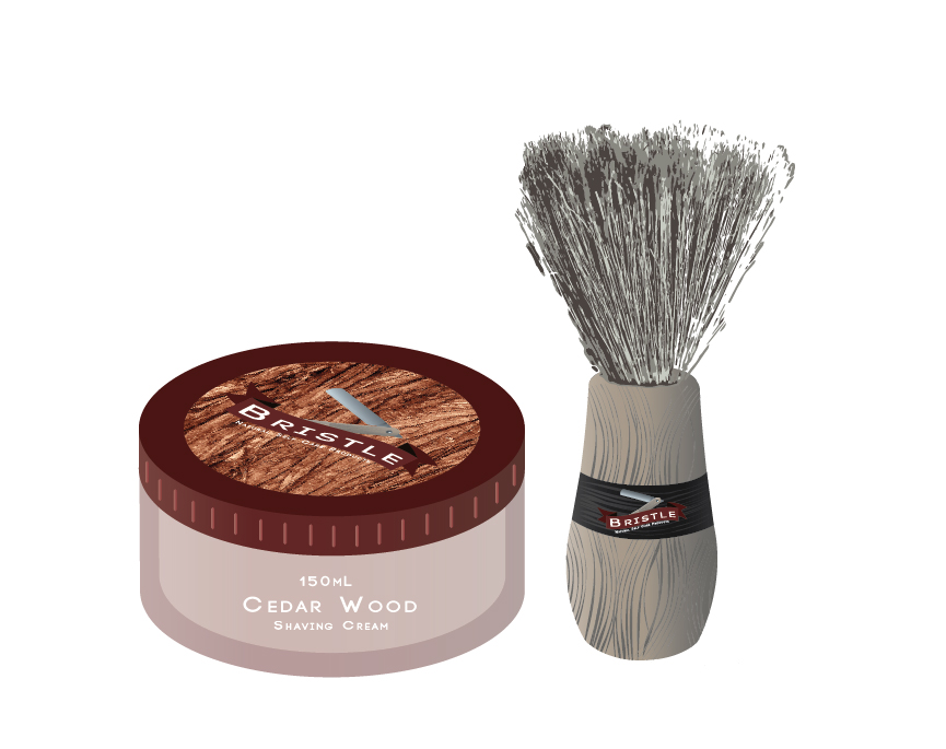 A small container of cedar wood scented shaving cream, placed beside a wood handled brush.